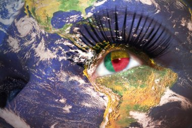 womans face with planet Earth texture and benin flag inside the eye.