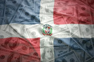 colorful waving dominican republic flag on a american dollar money background