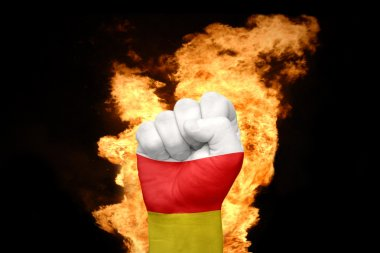 fire fist with the national flag of south ossetia