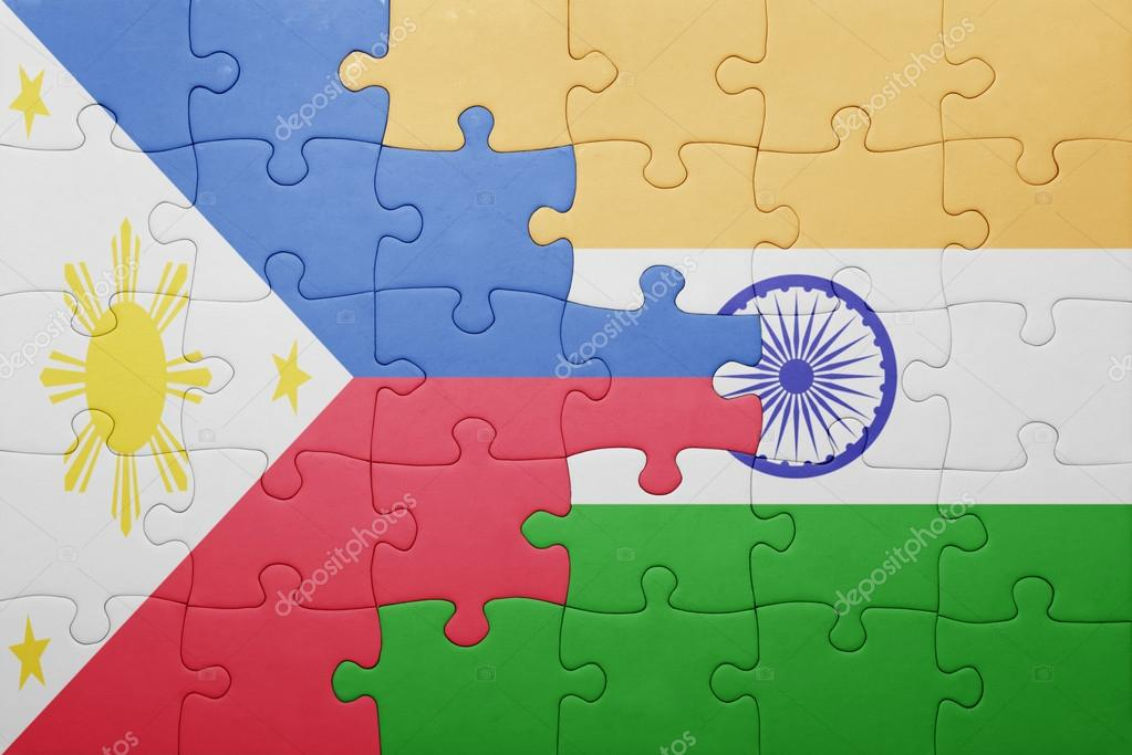 puzzle with the national flag of india and philippines stock photo