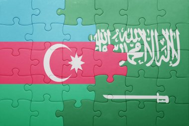 puzzle with the national flag of saudi arabia and azerbaijan