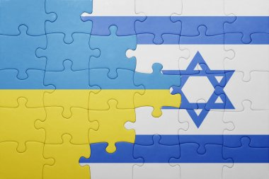 puzzle with the national flag of israel and ukraine