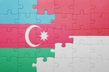 puzzle with the national flag of indonesia and azerbaijan