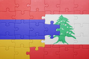 puzzle with the national flag of armenia and lebanon
