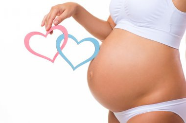 Pregnant belly with blue and pink heart. Horizontal closeup. Determine the sex of the child: twins, girl or boy.
