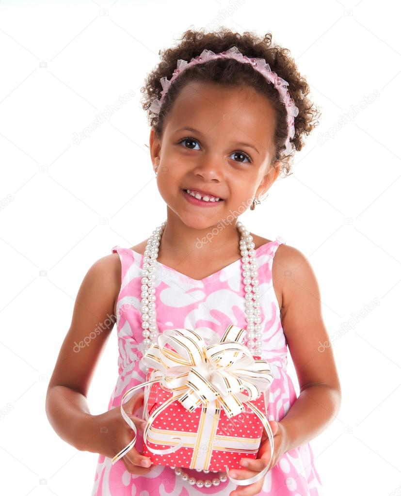 Smiling Girl With Curls Hair Give A Gift Box In Hands Happy New