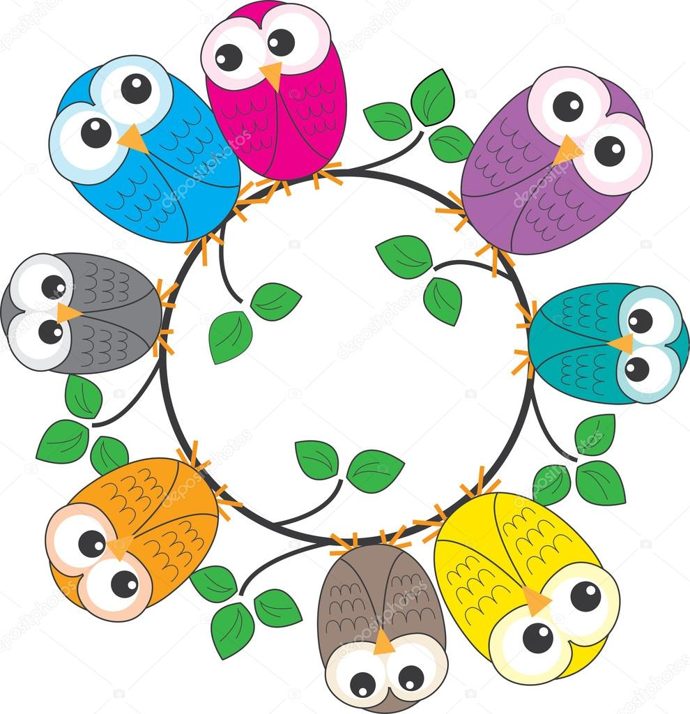 A frame of colorful owls