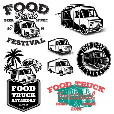 set of templates, design elements, vintage style emblems for food truck