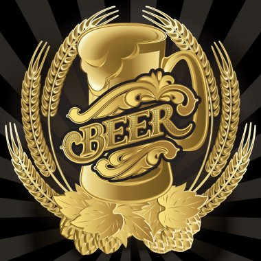 vector glass of beer on black background for menu