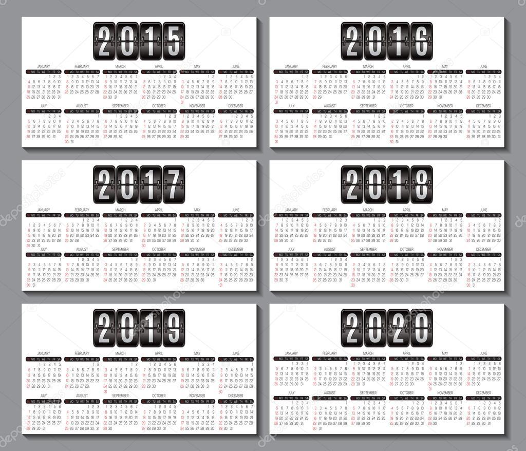Grille Du Calendrier Pour 2015 2016 2017 2018 2019 2020 Carte De Visite Vecteur Par 111chemodan111