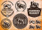 Sada štítků s traktorem pro hospodářská zvířata a plodiny