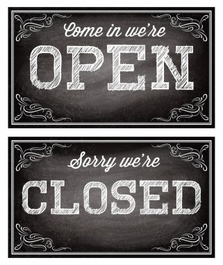 templates for Open and closed signboards retro style