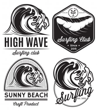 set of patterns for design logos on the theme of water, surfing, ocean, sea