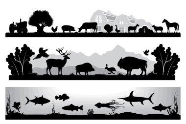 set of black and white landscapes wildlife, farm, marine life