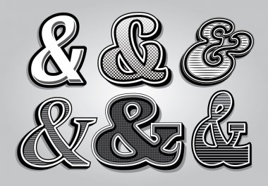set of stylish ampersands from different fonts