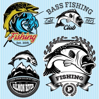 set of patterns with emblems for fishing with pike, salmon, bass