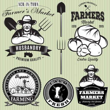 set badges with the farmer and vegetables for the farmers shop