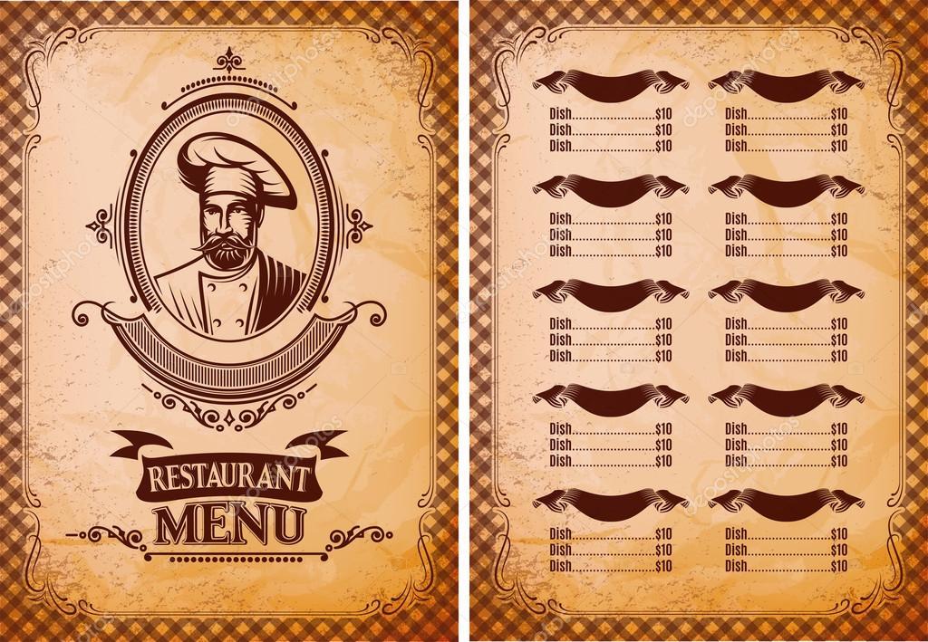 plantilla para menu de restaurante en estilo retro con el chef ...