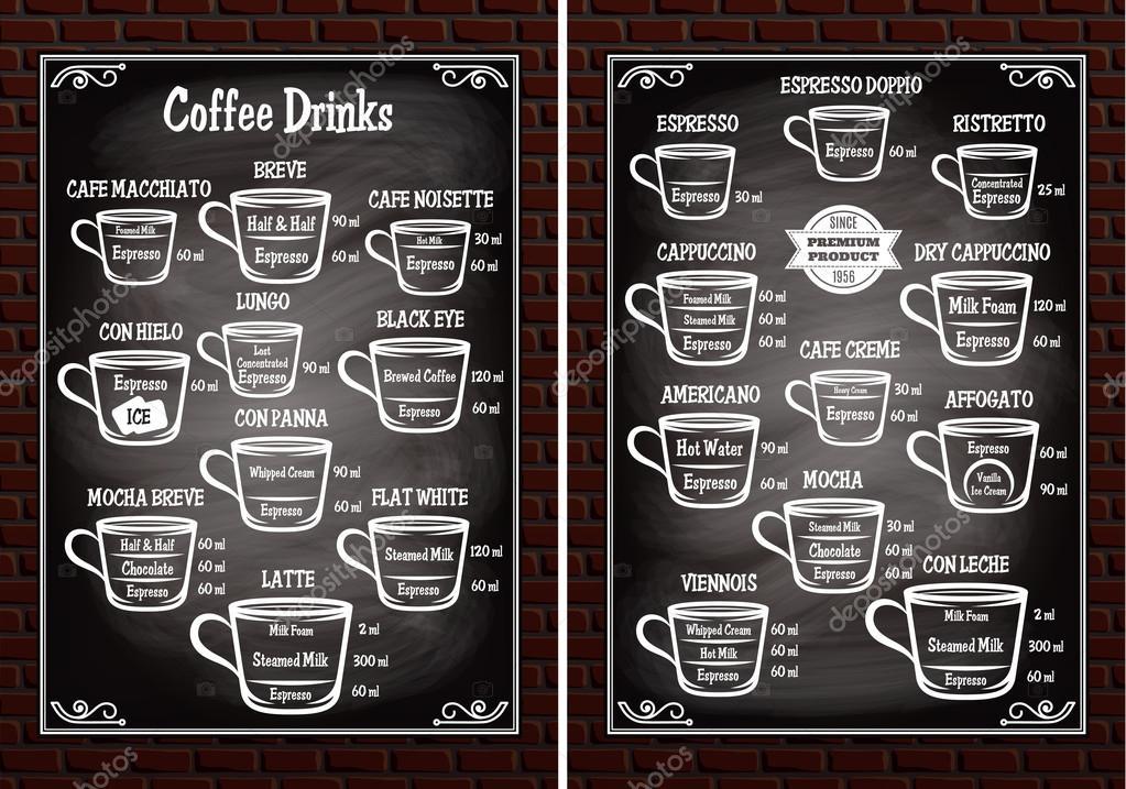 Satz der Tassen mit verschiedenen Kaffee-Getränke für Speisekarte ...