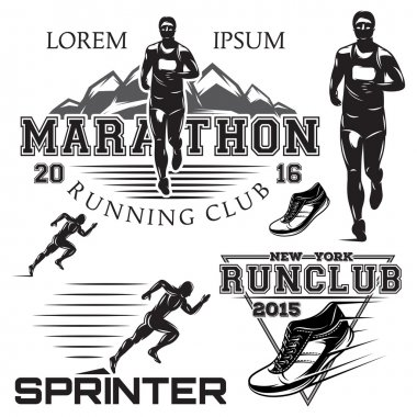 set black and white sports emblems for the sprint and marathon