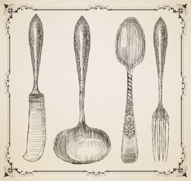 Cutlery, doodle style