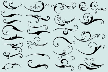 Set of calligraphic swashes and flourishes