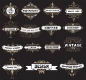 Vintage logó sablon, Hotel, étterem, üzleti identitás készlet