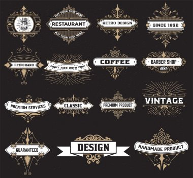 Vintage logo template, Hotel, Restaurant, Business Identity set. Design with Flourishes Elegant Design Elements. Royalty. Vector Illustration clip art vector