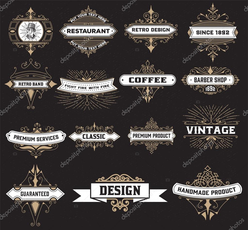 vintage logo template hotel restaurant business identity set
