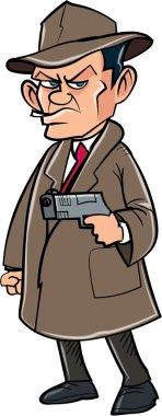 Cartoon secret agent with a hat and gun