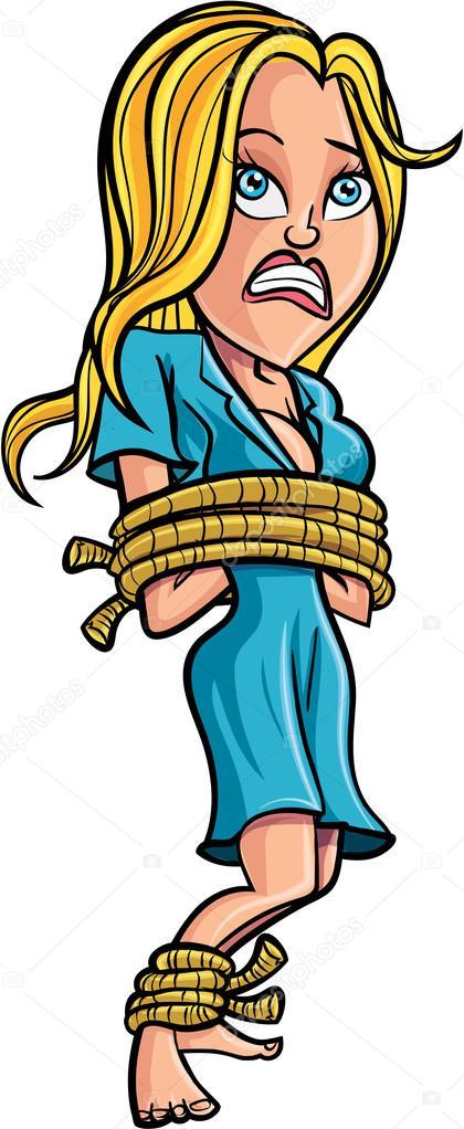 Cartoon Tied Up Woman Stock Illustration