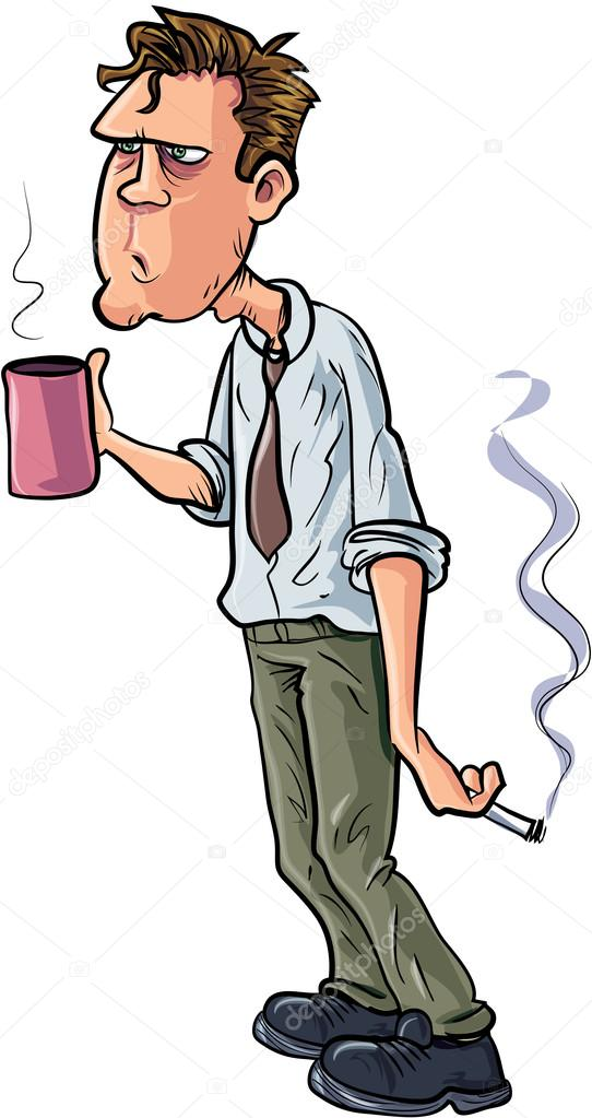 Stressed Person Drinking Coffee