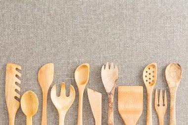 Border of wooden kitchen necessities