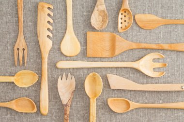 Assorted set of wooden kitchen utensils