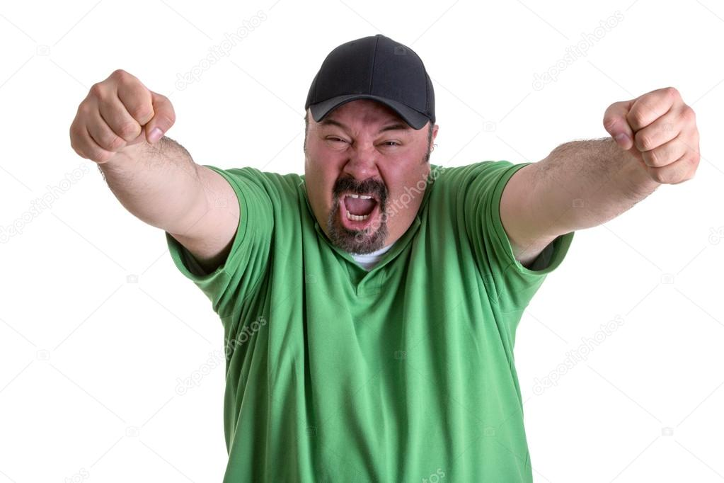 Happy Screaming Man Raising Arms After Team Wins