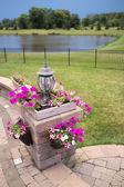 Luxury Patio Stone Pillar with Flower Boxes