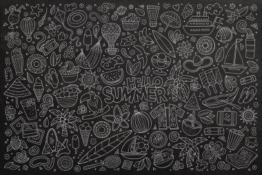 "Картина, постер, плакат, фотообои ""Line art vector set of summer objects"", артикул 116615758"