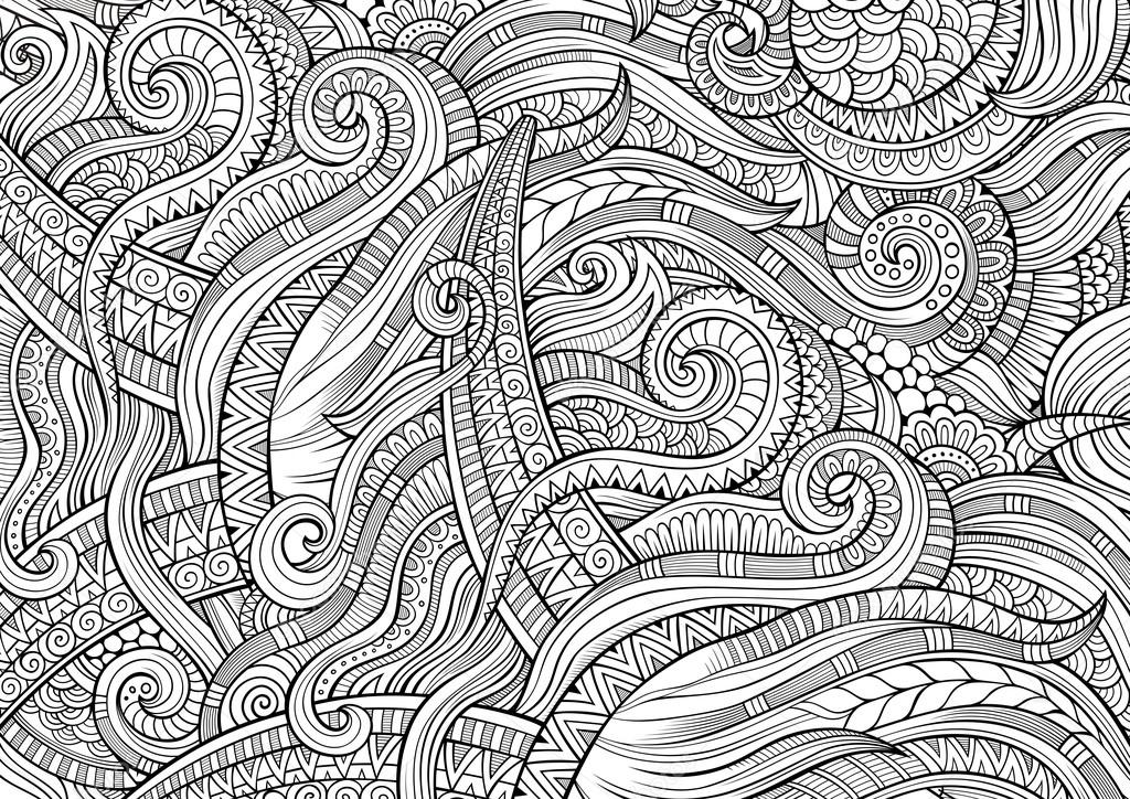 Resumen incompleto garabatos patrón étnico dibujado mano — Fotos de ...
