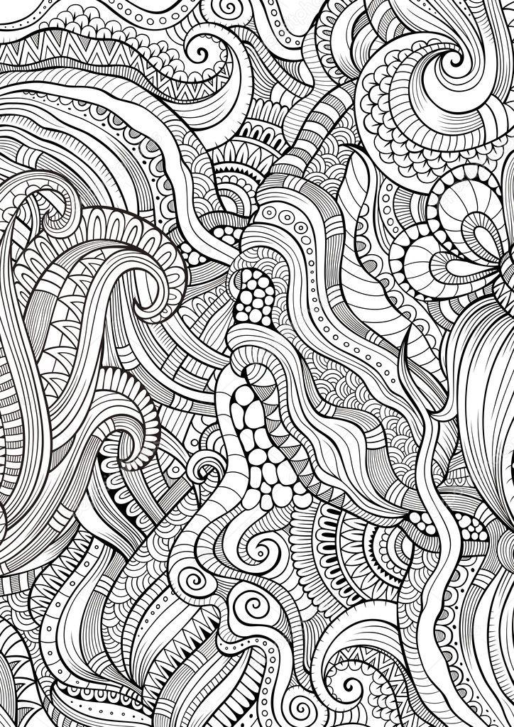Resumen incompleto garabatos patrón étnico dibujado mano — Foto de ...