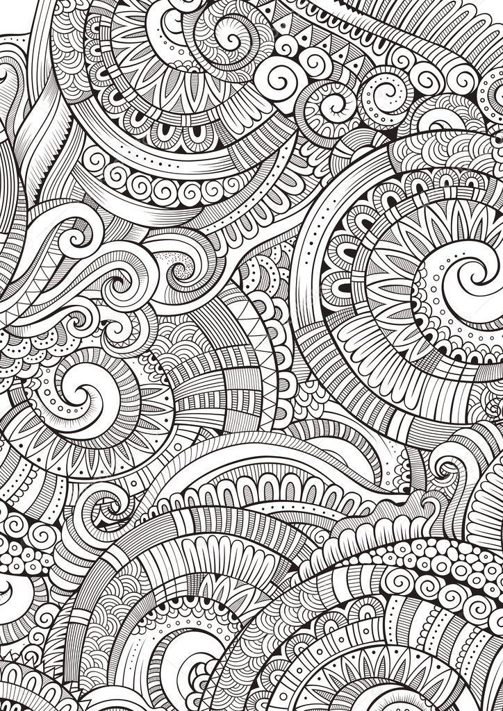 Resumen incompletos garabatos decorativos mano dibujada patrón ...