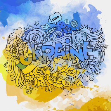 Ukraine hand lettering and doodles elements background