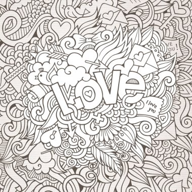 Love hand lettering and doodles elements sketch background