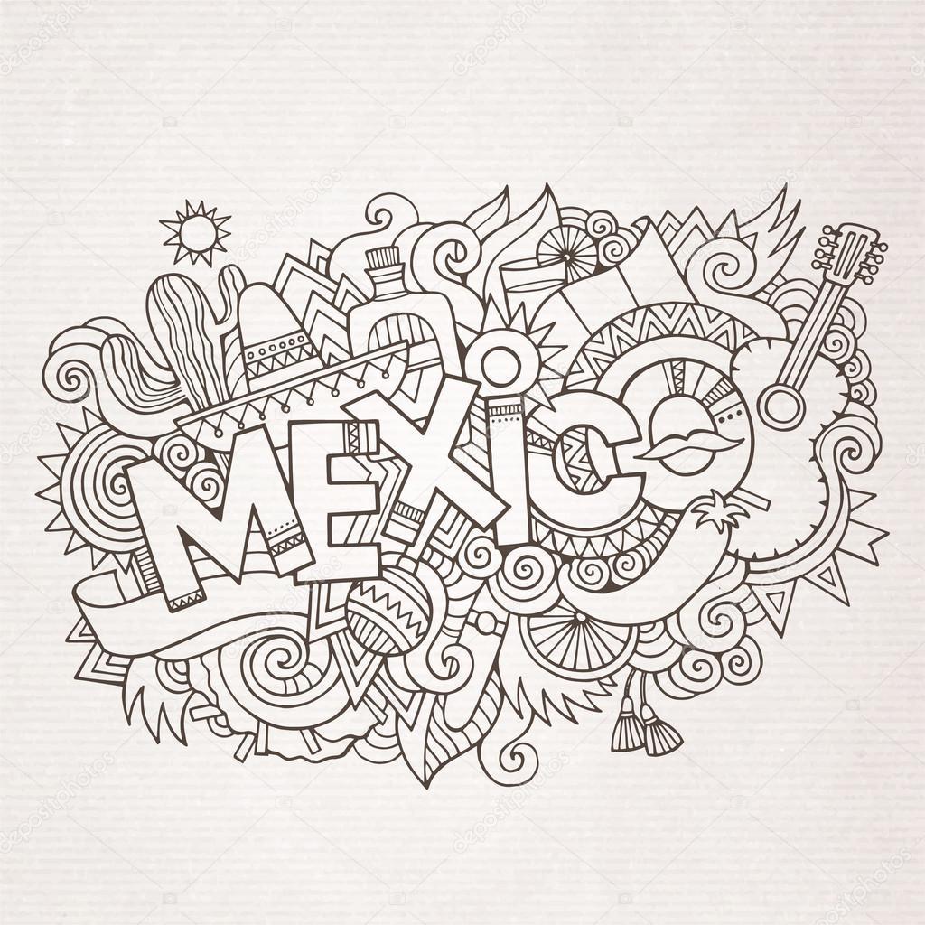 Land Hand Schriftzug und Kritzeleien Mexiko Elemente — Stockvektor ...