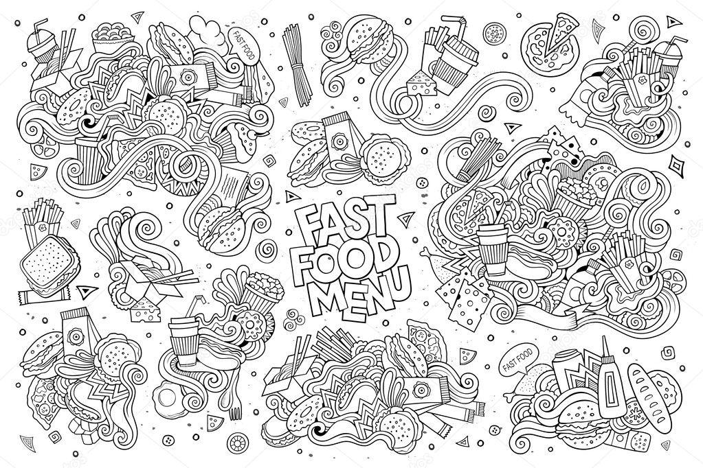 Fast Food Doodles Hand Drawn Sketchy Vector Symbols Stock Vector