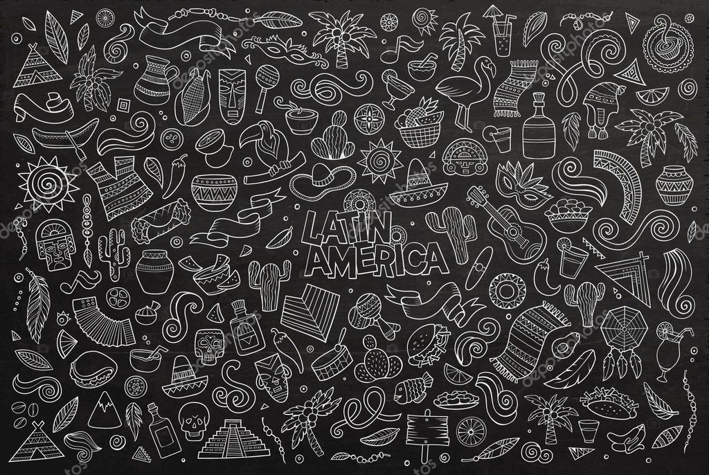 Chalkboard Vector Hand Drawn Doodle Latin American Objects Stock
