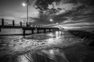 Fort De Soto Gulf Pier after Sunset  Tierra Verde, Florida Black