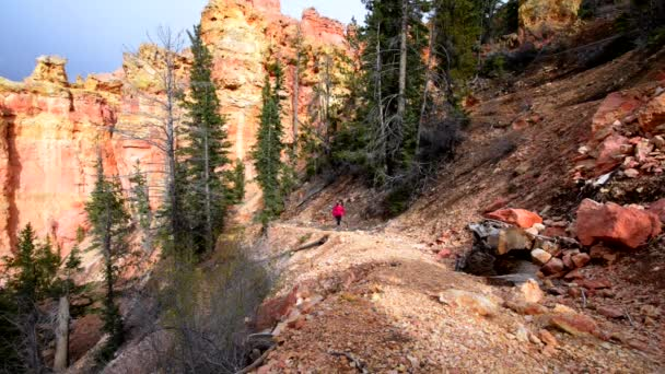 Nő hátizsákos túrázás, a Ponderosa Canyon Bryce Nemzeti Park