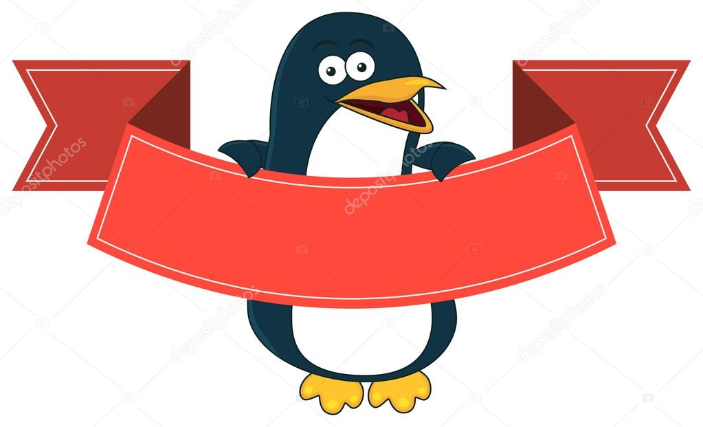 Smiling Penguin Cartoon With Blank Banner For Text Stock Vector C Doethion 66936107
