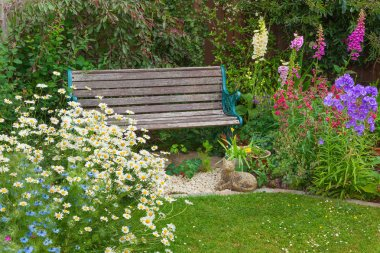 Garden with summer flowers and wooden bench.