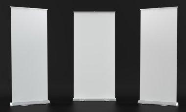 Rollup mockups on black background